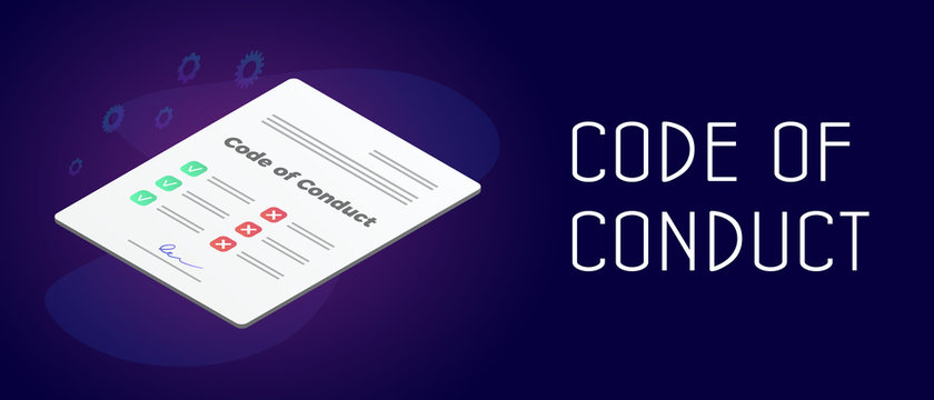 Code of Conduct business concept. Document with concept of ethical, values, rules, principles and employee expectations. Header and footer isometric vector banner template with text.