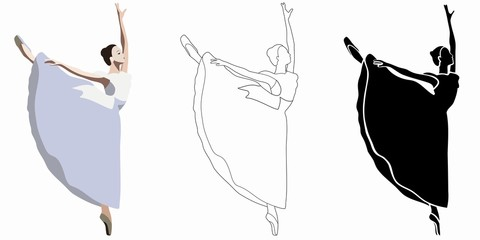 illustration set of a ballerina , vector drawing