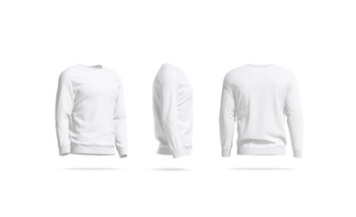 Blank white casual sweatshirt mock up, side and back view