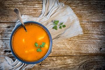 Fresh tomato soup with potato.