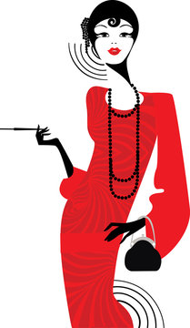 girl in a red retro dress of the 1920s, silhouette of a lady in retro style, character for the design of invitations, cards, planner in retro art deco style