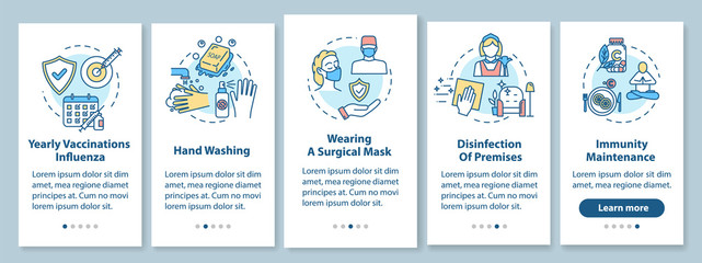 Fototapeta Flu prevention onboarding mobile app page screen with concepts. Hygiene, immunization. Influenza treatment walkthrough 5 steps graphic instructions. UI vector template with RGB color illustrations obraz