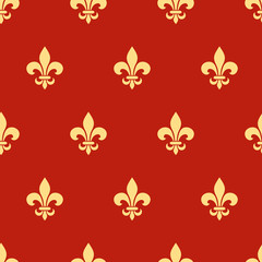 Vector seamless pattern with gold fleur-de-lis symbols on red.