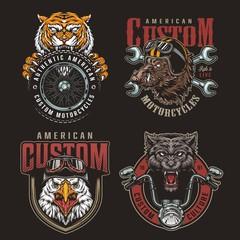 Foto op Aluminium Uilen cartoon Colorful animals bikers mascots badges set