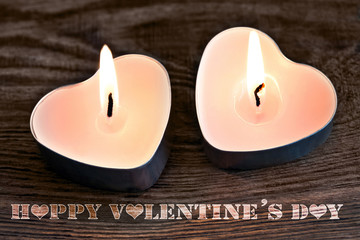 Two Candles and Happy Valentines Day