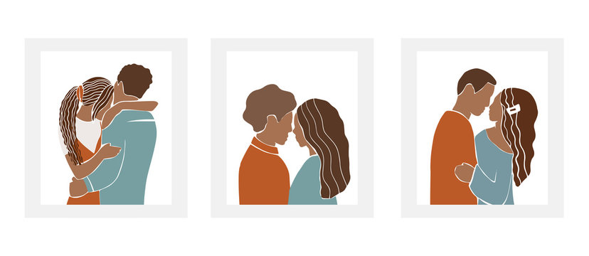 Set of romantic African American couples, Nigerian pairs of men and women on date, hugs and kisses. Abstract silhouette style characters isolated on white background. Minimalist vector illustration..