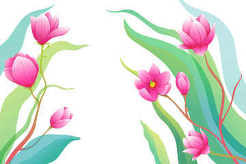 Romantic roses or magnolia flowers on empty background greeting card composition.