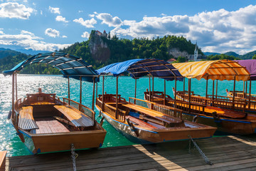 Touristic boats on a Bled Lake.