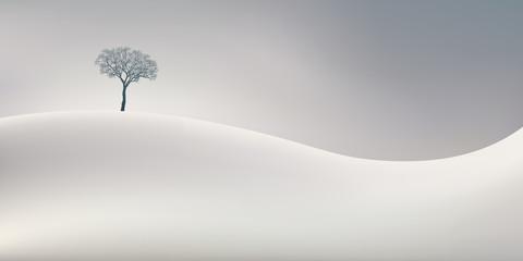 Papiers peints Blanc La saison d'hiver symbolisée par un paysage d'un blanc immaculé avec un arbre sans feuille au sommet d'une colline enneigée.