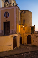 Procida (Napoli, Italy) - View of the Sanctuary of S. Maria delle Grazie by the street that leads to the Corricella village
