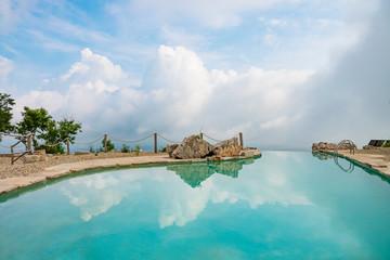 Beautiful swimming pool on the mountain top