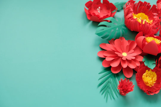 Hello, spring. With red paper flowers and green leaves