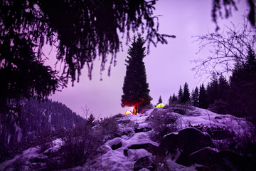 Fotobehang Purper Camping in the Night Mountains