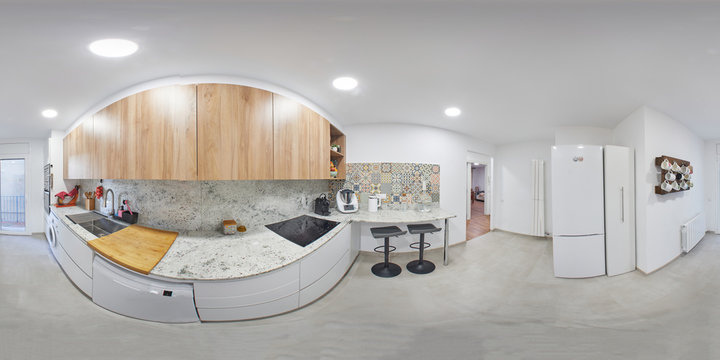 360 equirectangular photography, is a modern kitchen, with new appliances