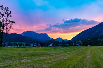 Beautiful sunset in alpine valley