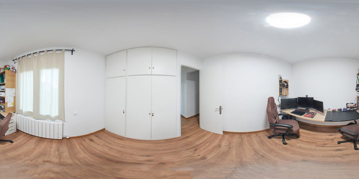 360 equirectangular photography, is an office with a modern computer