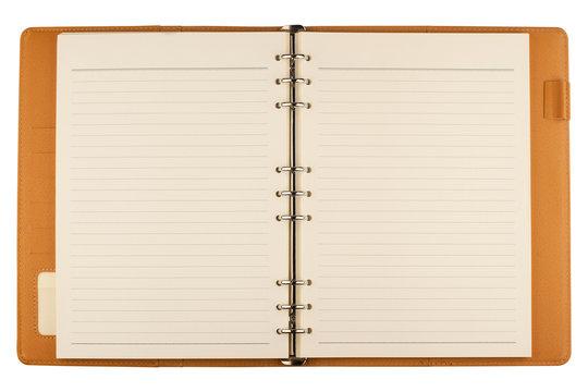 open notebook agenda on white