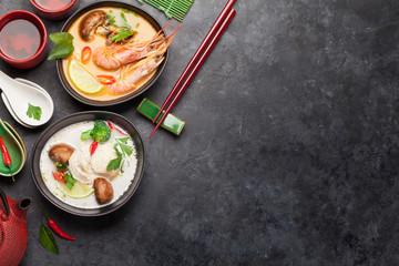 Tom Yum and Tom Kha traditional Thai soups Fototapete