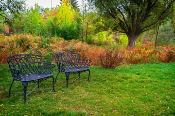 Vintage iron benches