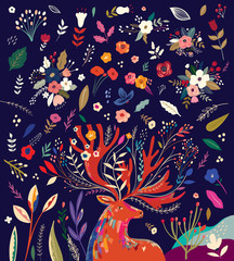 Beautiful creative pattern with flowers, leaves and deer