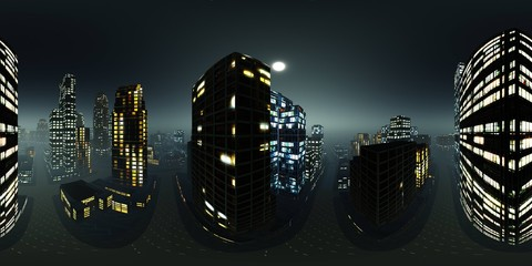 Wall Mural - Panorama of the night city, Environment map. HDRI map. equidistant projection. Spherical panorama , 3D rendering