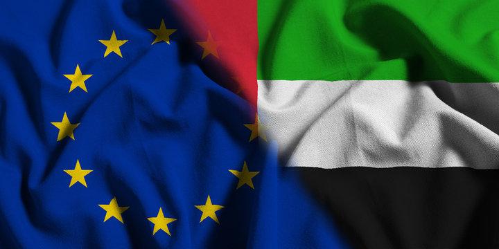 National flag of United Arab Emirates with European Union (EU) flag on a waving cotton texture background