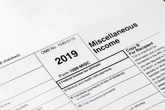 2019 IRS 1099 Miscellaneous income tax statement showing federal income tax withheld for filing 2020 individual income tax return