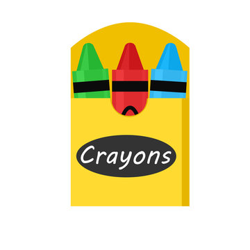 3 Crayon in box icon. Clipart image isolated on white background