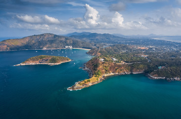 Wall Mural - Aerial view of Promthep Cape on the south of Phuket island, Thailand