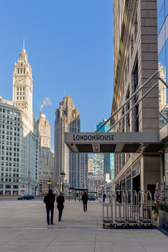 General view of the London House Entrance on East Wacker Drive under a blue sky on December 30, 2018 in Chicago, Illinois
