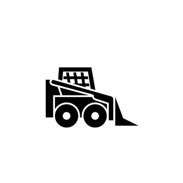 Small tractor silhouette icon. Clipart image isolated on white background