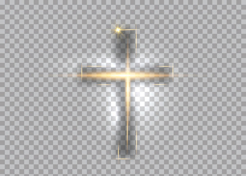 cross of light, shiny Cross with golden frame symbol of christianity. Symbol of hope and faith. Vector illustration isolated on transparent background
