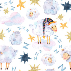 Seamless watercolor pattern with sleeping sheep in caps, multi-colored stars and lumps of wool is suitable for fabric, printing, wallpaper, baby clothes and textiles, souvenirs, covers and scrapbook p
