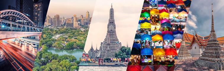 Fototapete - Bangkok city famous landmarks collage