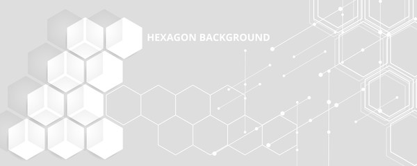 High tech background design. The concept of chemical engineering, genetic research, innovative technologies. Hexagonal background for digital technology, medicine, science, research and healthcare.