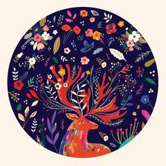 Fototapete - Beautiful creative pattern with flowers, leaves and deer