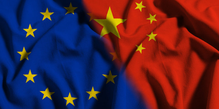 National flag of China with European Union (EU) flag on a waving cotton texture background