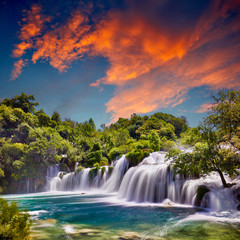 Poster Cascades Beautiful Skradinski Buk Waterfall In Krka National Park - Dalmatia Croatia, Europe. Beautiful long exposure panorama of waterfalls (milk effect). A true natural wonder. Amaizing sunlight view.