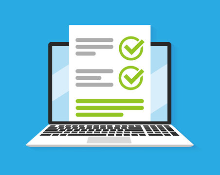 Online form survey on laptop. Vector illustration. Flat style design