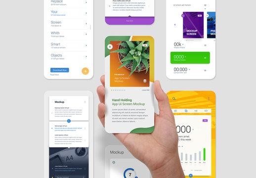 Hand Holding App Ui Screen Presentation Mockup