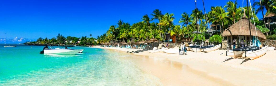 Tropical holidays and paradise beach scenery. Mauritius island
