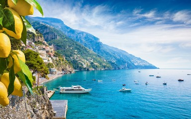 Beautiful Positano with comfortable beaches and blue sea on Amalfi Coast in Campania, Italy.