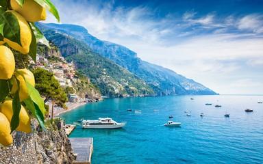 Beautiful Positano with comfortable beaches and blue sea on Amalfi Coast in Campania, Italy.