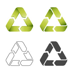 Set of images of signs of recycling materials in a different style. Isolated objects on a white background.