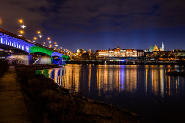 City Skyline Of Warsaw Night River View