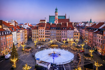 Old Town Square With Ice Rink In Warsaw