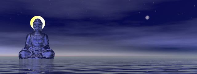 Peaceful buddha meditating alone next to the full moon - 3D render