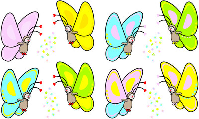 funny hand drawn vector illustration of  cute butterfly in various colors and flower decoration