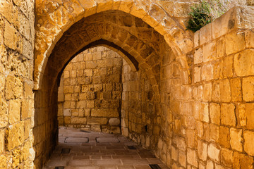 Arched Passage In Cittadella of Victoria in Gozo, Malta