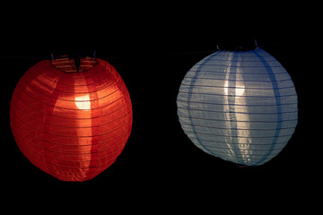 Traditional Chinese Lanterns Illuminated at Night